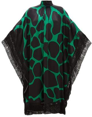 Andrew Gn Giraffe-print Silk-satin Kaftan Dress - Womens - Black Green