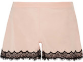 Mimi Holliday Bisou Bisou Zoo Stretch-Silk Satin And Lace Pajama Shorts