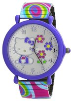 Hello Kitty #HK2169D Women's White Colorful Rainbow Expansion Band Flower Dial Watch