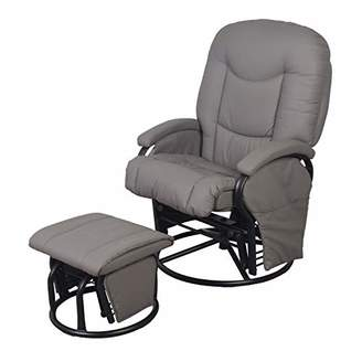 Babylo PU Glider Nursing, Maternity Rocking Chair and Ottoman - Grey