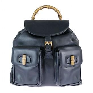 Gucci Bamboo Black Leather Backpacks
