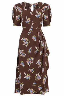 The Seamstress of Bloomsbury Shelly Dress in Brown Floral 1940's Authentic Vintage Style Clothing (UK 10)