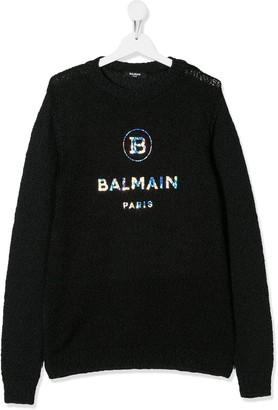 Balmain Kids logo knit jumper