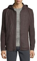 John Varvatos Leather Parka Jacket w/ Double-Closure Cuffs