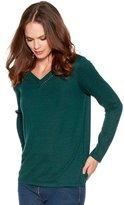 M&Co V neck crochet trim top