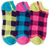 LittleMissMatched Blue Pink & Green Fuzzy Buffalo Check Socks Set