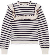 Ulla Johnson Lourdes Ruffled Striped Cotton And Cashmere-blend Sweater - Navy