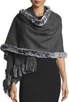 Neiman Marcus Rabbit Fur-Trim Wool Wrap, Charcoal/Snowtip Gray