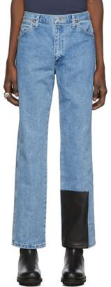 St Henri St-Henri SSENSE Exclusive Blue Welding Washed 1 Jeans