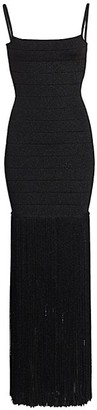 Herve Leger Strappy Fringe Glitter Bandage Column Gown