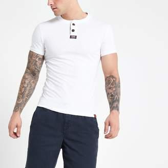 Superdry Mens River Island White grandad collar T-shirt