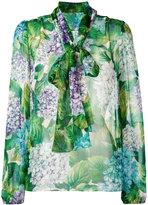 Dolce & Gabbana hydrangea print pussybow blouse - women - Silk - 44