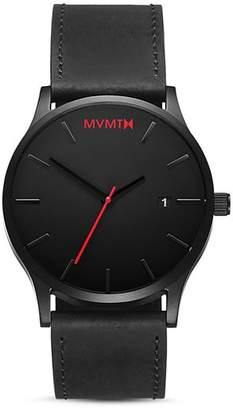 MVMT Classic Black Leather Watch, 45mm