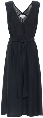 Velvet Harmony belted linen midi dress