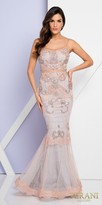 Terani Couture Mock Two Piece Lace Applique Embellished Evening Gown