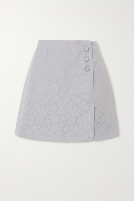ALEXACHUNG Embroidered Wrap-effect Woven Mini Skirt - Sky blue