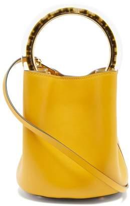 Marni Pannier Medium Leather Bucket Bag - Womens - Yellow