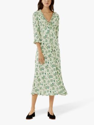 Ghost Nisha Frill Floral Midi Dress