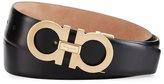 Salvatore Ferragamo Double Gancini Leather Belt, Black