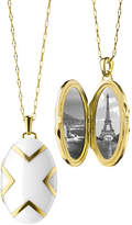 "Monica Rich Kosann 18k White Ceramic Oval X Locket, 30""L"