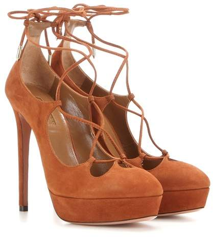 Aquazzura Dancer Plateau 130 suede pumps