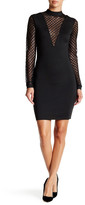 Wow Couture Mesh Sleeve Mock Neck Bodycon Dress