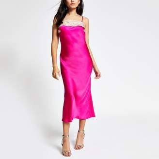 River Island Womens Pink lace trim midi slip dress
