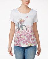 Karen Scott Floral Bike Graphic T-Shirt, Created for Macy's