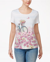 Karen Scott Floral Bike Graphic T-Shirt, Only at Macy's
