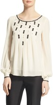 St. John Hand Beaded Silk Georgette Blouse