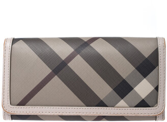 Burberry Grey Smoke Check PVC and Leather Flap Continental Wallet