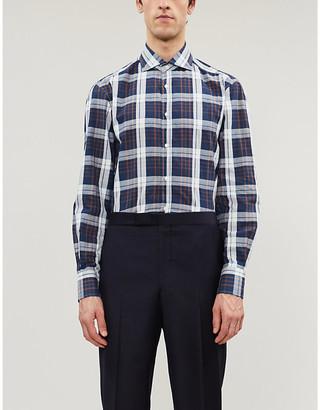 Brunello Cucinelli Checked cotton-linen blend shirt