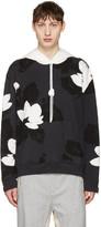 3.1 Phillip Lim Black Zip Sleeve Floral Hoodie