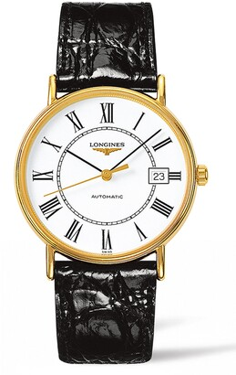 Longines Presence Automatic Alligator Leather Strap Watch, 38.5mm