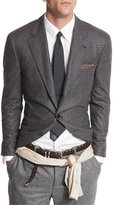 Brunello Cucinelli Plaid-Windowpane Two-Button Jacket, Gray