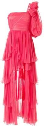 Alberta Ferretti HIGH LOW TULLE DRESS WITH SLEEVE