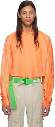 Heron Preston Orange and White Turtleneck Style Long Sleeve T-Shirt