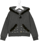 MonnaLisa fur trim hoodie - kids - Cotton/Spandex/Elastane/Viscose - 4 yrs
