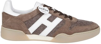 Hogan Brown Suede And Canvas Sneakers