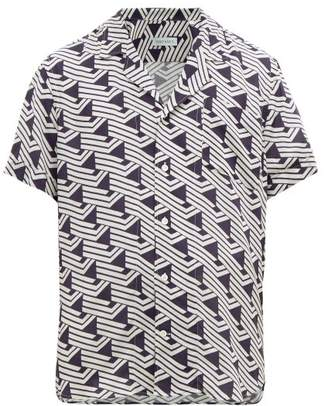 Odyssee - Triangle-print Poplin Shirt - Mens - Navy Multi