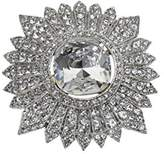Kenneth Jay Lane Women's Silver Plated Round Center Crystal Cluster Brooch