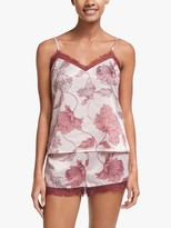 John Lewis & Partners Britta Floral Camisole And Short Satin Pyjama Set, Pale Pink