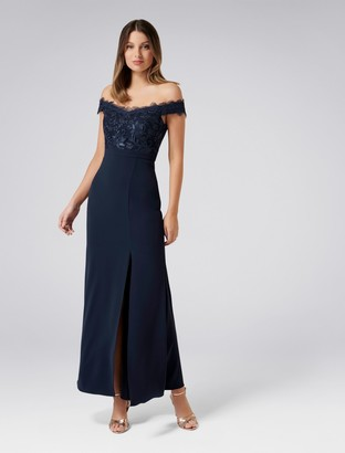 Forever New Bobbie Lace Bodice Gown - Navy - 4