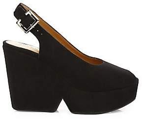Clergerie Women's Dylan2 Peep-Toe Slingback Suede Wedge Heels