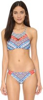 Red Carter Womens Shell Cut Out Swim Top Separates White S