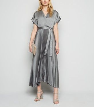 New Look Satin Pleated Midi Dress