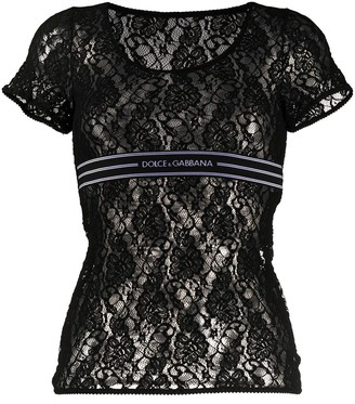 Dolce & Gabbana lace logo band T-shirt