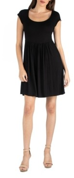 24seven Comfort Apparel Scoop Neck Babydoll Dress with Cap Sleeves