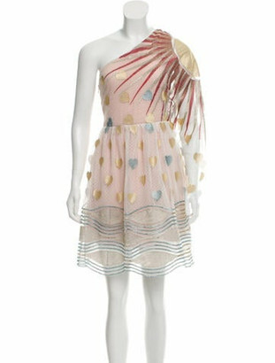 Sandra Mansour One-Shoulder Dress w/ Tags Beige