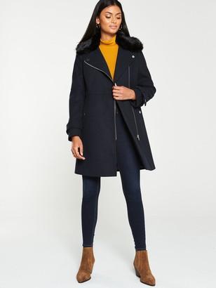 Very Faux Fur Trim Asymmetric Zip Coat - Navy